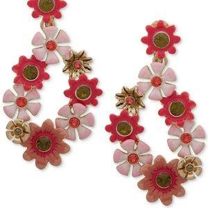 Gold-Tone Stone Flower Drop Statement Earrings